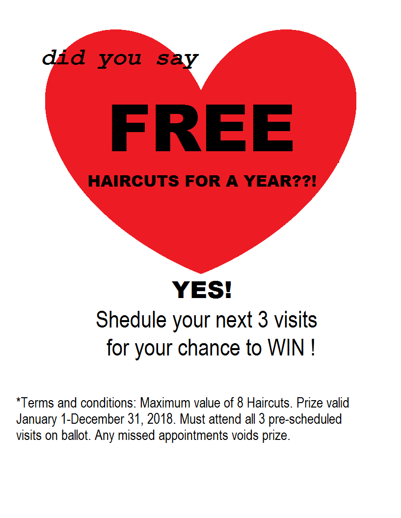 PB Promo 2017 Free Hair cuts for a year